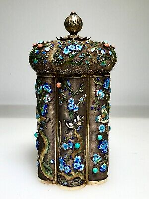 SUPERB Antique CHINESE Gilt Silver Filligree TEA CADDY Enamel CORAL & Turquoise