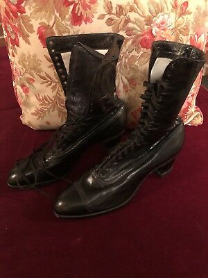 Vintage Women's 1900s Queen Quality Black Leather Lace Up Boots Boston 36 Eyelet