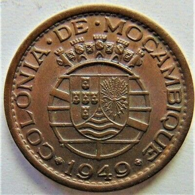 1949 MOZAMBIQUE  PORTUGUESE , 20 CENTAVOS, Two year type grading Brown UNC.