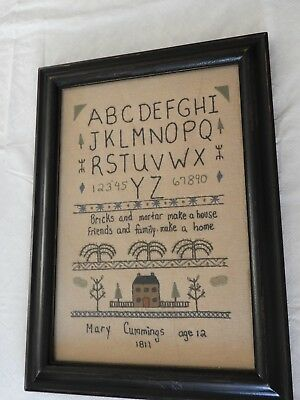 Repro Primitive Sampler ABCs Mary Cummings Age 12 Cloth Framed
