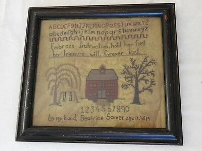 Repro Primitive Sampler ABCs Beatrice Sarver Age 11 Cloth Framed