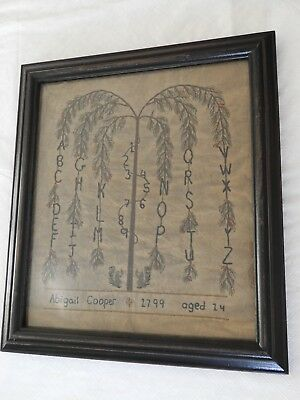 Repro Primitive Sampler ABCs  Abigail Cooper Cloth Framed