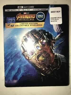 Avengers: Infinity War Best Buy Steelbook 4K+Blu-ray+ Code NEW & SEALED