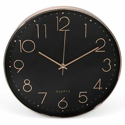 Clockz 14 inch Rose Gold and Black Decorative Wall Clock Battery Operated Han...