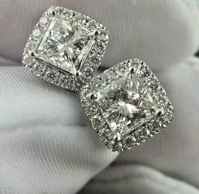 Certified 4Ct Princess White Diamond Halo Stud Earrings Push Back 14K White Gold
