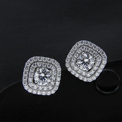 3.60Ct Certified Cushion Diamond Shape Halo Stud Earrings Solid 14K White Gold