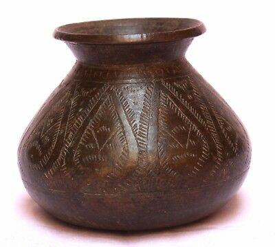 Indian Old Vintage Hand Carved Unique Brass Holy Water Pot Collectible BR 366