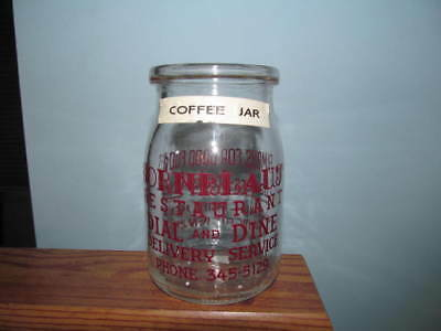 Glass coffee jar Kornblaus Restaurant  Atlantic City N.J. 12.oz. maroon pyro