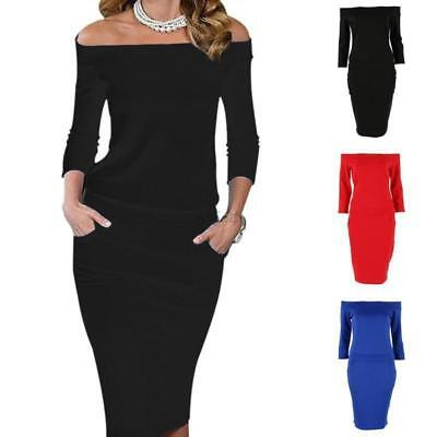 Sexy Women Off Shoulder Bandage Bodycon Evening Party Cocktail Pencil Midi Dress