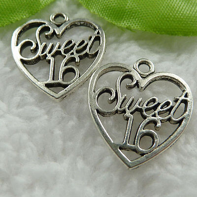 Free Ship 50 pieces tibetan silver heart charms 21x19mm #452