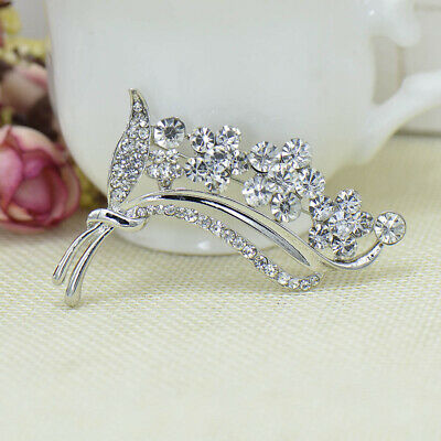 Fashion Rhinestone Crystal Silver Plated Flower Brooch Pin For Women Gift Party