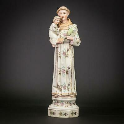 St Anthony Statue | Child Jesus Christ Figure | Antique Bisque Porcelain | 15""