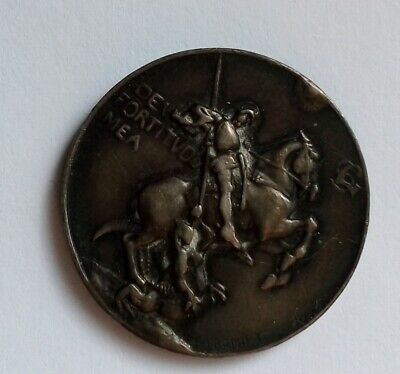 Rare Old Religious Solid Silver Medal St. George