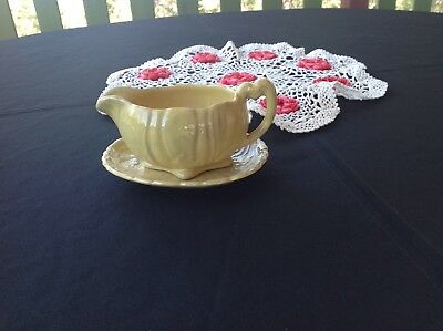 Stoke On Trent - English Gravy Boat And Saucer - Yellow Cabbage Leaf Design