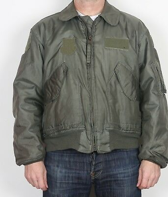"""Flyers Cold Weather Bomber Jacket MA-1 CWU-45/P Large 42"""" 44"""" Green 1992 (K1E)"""