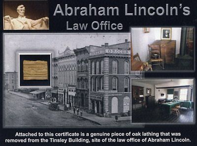 Genuine Piece of Abraham Lincoln's Law Office Site On Beautiful Certificate COA