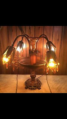 Art deco table lamp epergne lily tulip amber antique 1940s