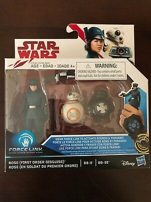 Rose (First Order Disguise), BB-8 & BB-9E Figures Star Wars Force Link. New