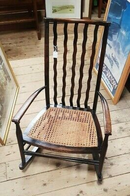 Phenomenal Antique Arts And Crafts Rocking Chair Cane Seat Low Fireside Inzonedesignstudio Interior Chair Design Inzonedesignstudiocom
