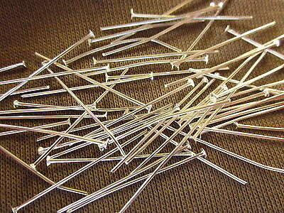 100 Silver Coloured 32mmx0.7mm Headpins Head Pins #828 Jewellery Making Beading