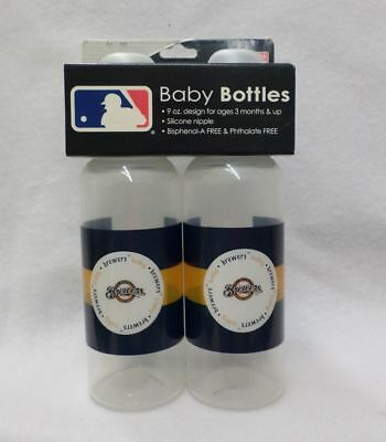 MLB Milwaukee Brewers Twin Pack 9 OZ Baby Bottles