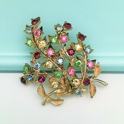 Vintage Signed Coro Golden Branching Leaves Brooch with Multicolored Rhinestones