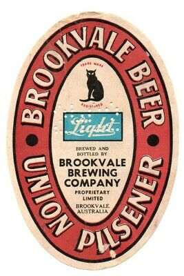 Very Rare Early Brookvale Union Pilsener Beer/ Stout Brewery Bottle Label