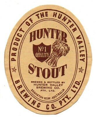 Very Rare Early Hunter Valley Brewery, Branxton Beer/ Stout Brewery Bottle Label