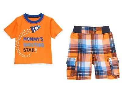 Gymboree Stripes in Space Mommy's Star Shirt & Plaid Shorts Set Boys 4T NEW NWT