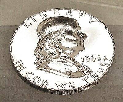 1963  Franklin  Proof   90%  Silver  > Blazing  Mirrored  Surfaces  <  #323  19
