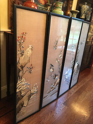 A Set Of Four Rare and Large Qing Dynasty Embroidered Silk  Panels.