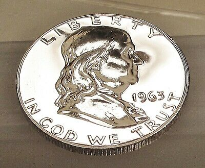 1963  Franklin  Proof   90%  Silver  > Blazing  Mirrored  Surfaces  <  #323  21