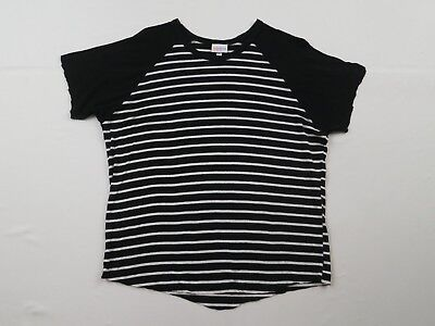 260afab427c7dc LuLaRoe LLR Black White Striped Randy T Shirt Womens Sz L Large ALTERED Tee  Top