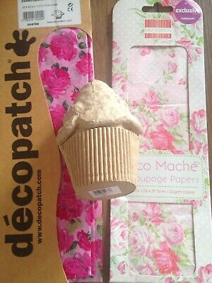 Cupcake Mache Pot Plus Decoupage Paper Bundle