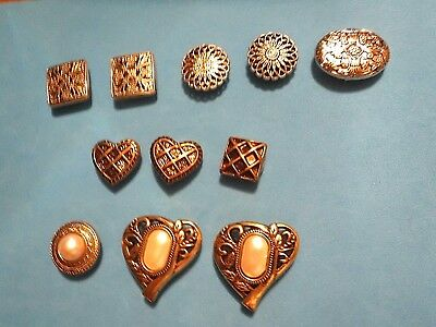 Assorted Gold Tone & Silver Tone Button Covers -  11 - Vintage
