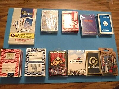 13 Decks Of Playing Cards  - Greek; Baseball, Lighthouses, Etc. - Vintage
