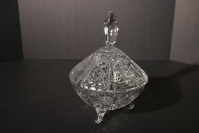 Brilliant Pinwheel & Star Crystal Cut Glass footed Candy/Vanity Dish w/Lid 9""