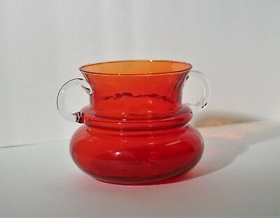 Vintage Hand Blown Tangerine Art Glass Jug Vase Cuspidor w/Applied Clear Handles
