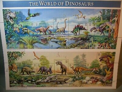 Sheet Of The World Of Dinosaurs 32 Cent Usa Stamps 1996 Scott #3136 Mnh, New