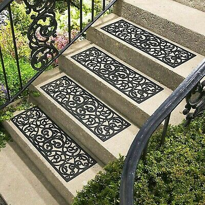 Set Of 4 Outdoor Rubber Stair Treads Non Slip Anti Trip Step Cover Mat Staircase