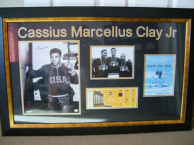 Cassius Clay Signed 1960 Olympic Motage (Online Authentics COA)
