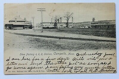 Old UDB postcard SHOE FACTORY & R.R. RAILROAD STATION, CAMPELLO, MA, pre 1907