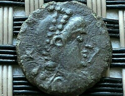 Theodosius Ii 408-450 Ad Ae4 Two Emperors Ancient Roman Coin