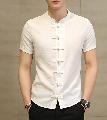 Summer Mens Chinese style Short Sleeve Satin Shirt Printed Stand collar Glossy D