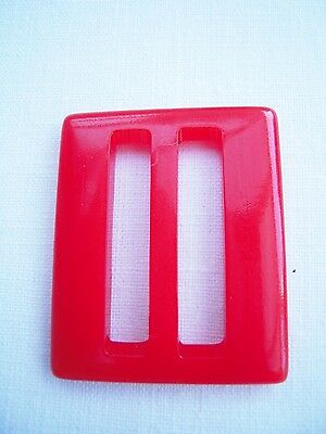 "Vintage RED Plastic Belt Buckle 1 1/4"" by 1 1/2"""