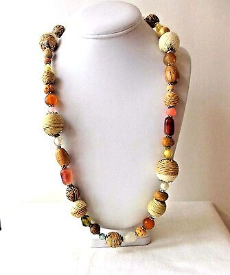 """Vintage Wood Glass & Lucite Brown & Amber Tone Beaded Necklace 36"""" Long"""