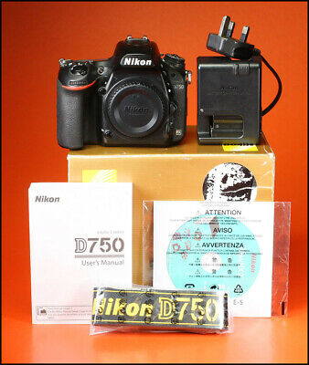Nikon D750 Digital 24MP SLR Camera With Battery, Charger, Manual, Software & Box