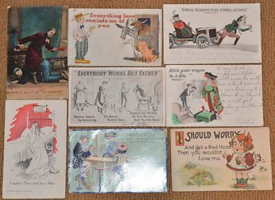 Vintage Lot  (8) 1906 Humorous Funny Couples Sweethearts Humor Postcards