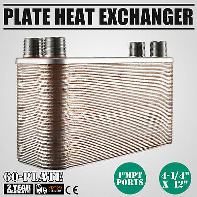 60 Plate Water to Water Brazed Plate Heat Exchanger HVAC Radiant Fixture PRO