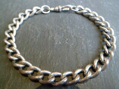 Antique Chunky Solid Silver Albert Pocket Watch Chain Bracelet - Lion Stamps 23g